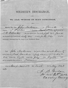 John Anderson Discharge Certificate