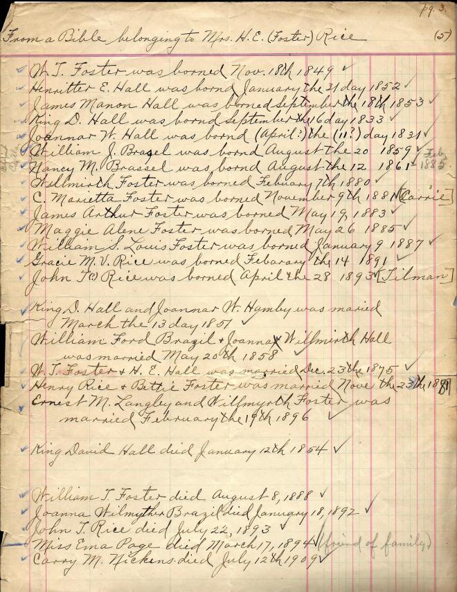 Henrietta Hall Foster Rice Bible transcription